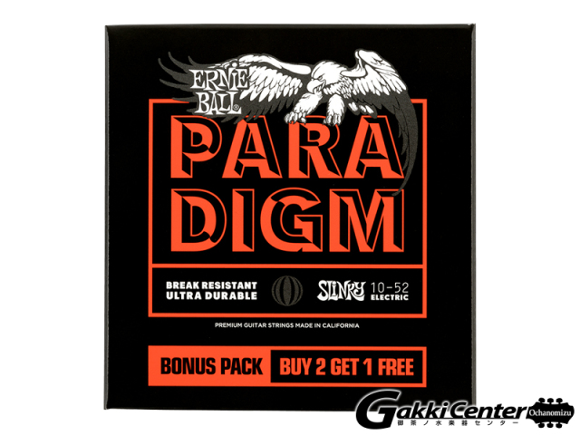 【アウトレット】ERNiE BALL Skinny Top Heavy Bottom Slinky Paradigm Electric Guitar Strings - 10-52 Gauge 3 Pack [#3365]
