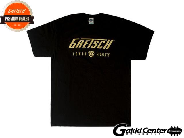 Gretsch Power & Fidelit / Block Logo Men's T-Shirt, Black, Large