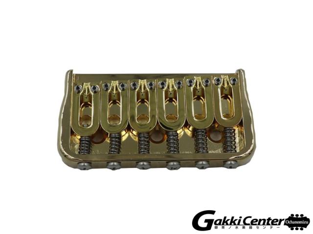 Hipshot 6 String Fixed Guitar Bridge, Gold. 0.125