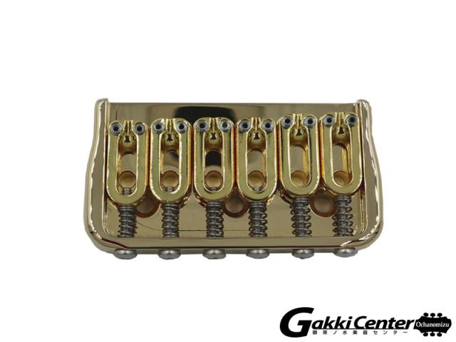 Hipshot 6 String Fixed Guitar Bridge, Gold, 0.175