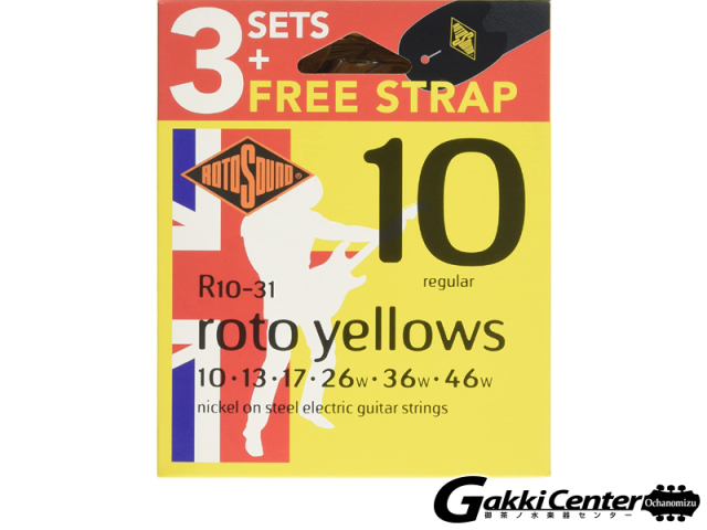 ROTOSOUND Rotos R10-31 Regular (.010-.046 3Packs With Strap)