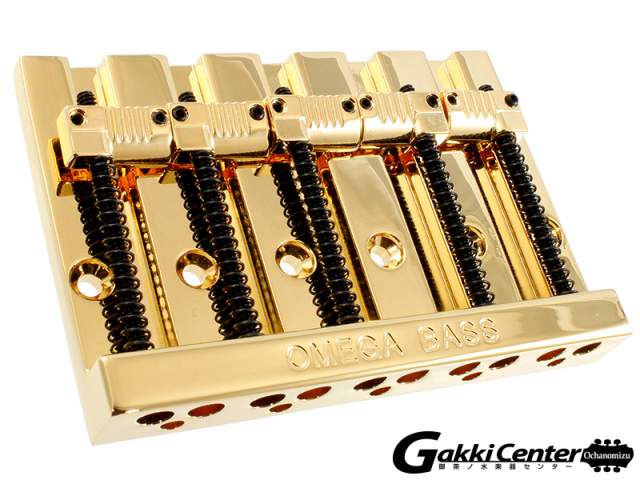 Allparts 5-String Grooved Omega Bass Bridge Gold/6079