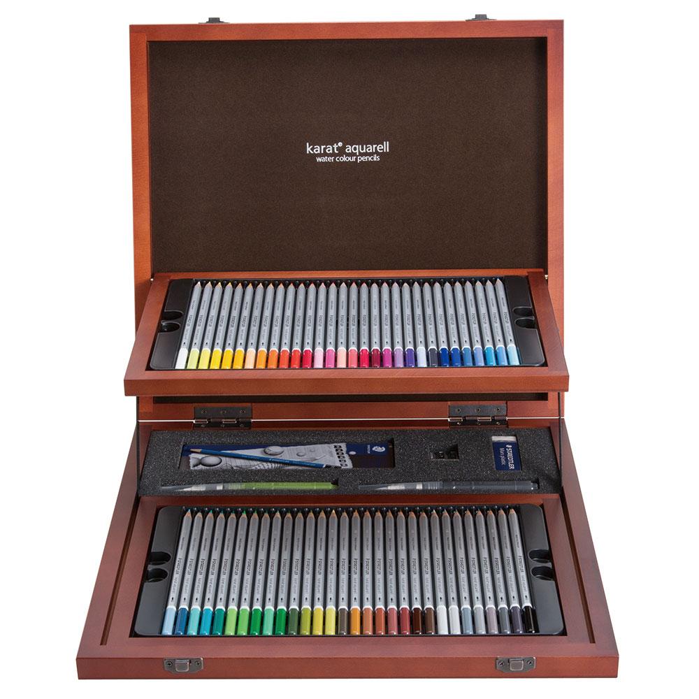 ステッドラー カラトアクェレル水彩色鉛筆 クリエイティブボックス(木箱入り60色)