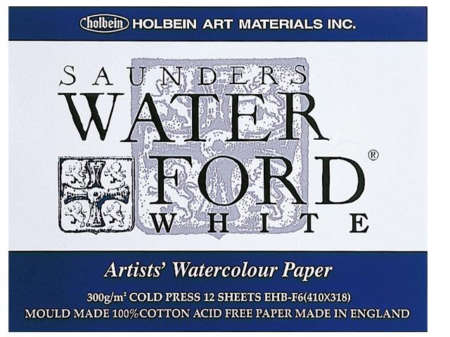 【12枚入り】ウォーターフォード水彩紙 F6 ホワイト ブロック中目[スケッチブック]