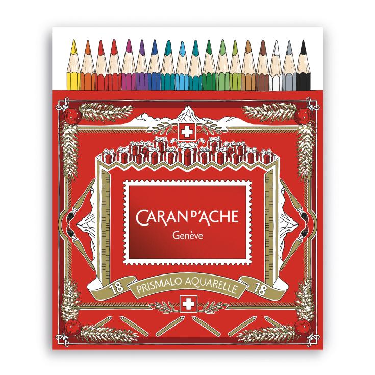 カランダッシュ プリズマロ(水溶性色鉛筆・堅芯) 18色セット<クリスマスパッケージのスリーブ付>