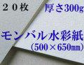 モンバル水彩紙 中目<厚さ300g> 500mm×650mm 20枚