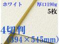 ミューズ ホワイトワトソン<厚口190g>4切判(394×545mm) 5枚