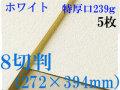 ミューズ ホワイトワトソン<特厚口239g>8切判(272×394mm) 5枚
