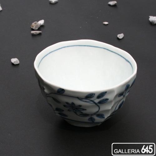 染付つる花紋しのぎ茶碗:山本文雅:007020