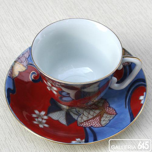 染錦赤濃流水桜紅葉文珈琲碗皿:有田製窯【送料無料】:030030