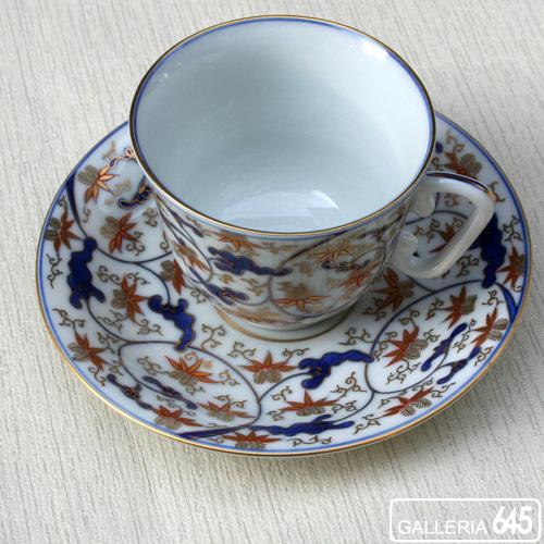 染錦唐草笹文珈琲碗皿:有田製窯【送料無料】:030031
