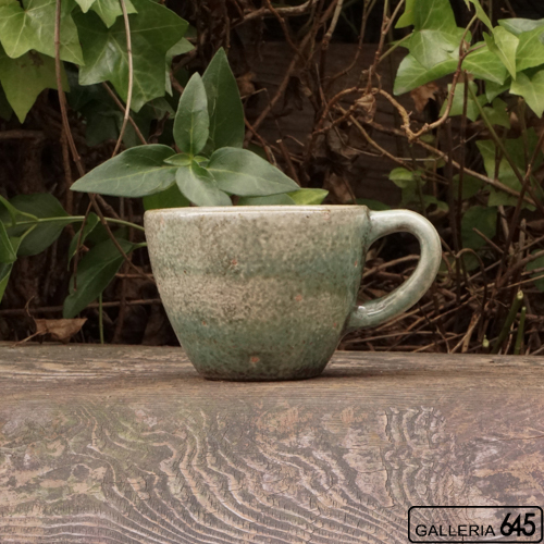 コーヒーカップ(小・緑ドット):ポープ奈美:066117