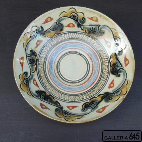 8寸皿(赤絵線彫り格子唐草文):國場 一:094003-B