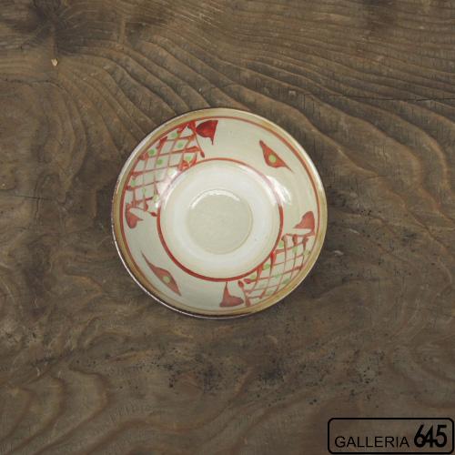 4寸皿(赤絵格子文、赤線):國場 一:094013-A-red