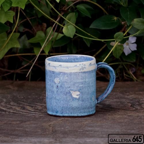 イズブルーマグカップ(花と鳥):天野雅夫:099009