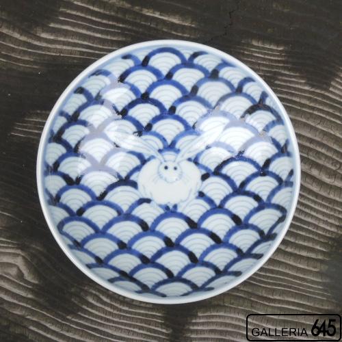 青海波兎文5寸皿:岩永 浩:002013