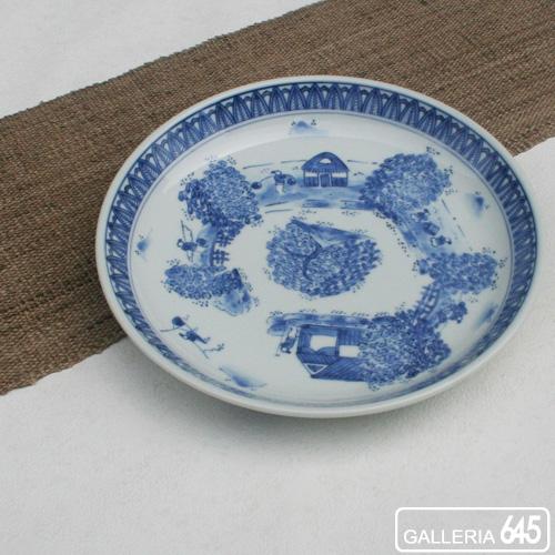 玉縁8寸皿(周り山水):田代隆則:011053
