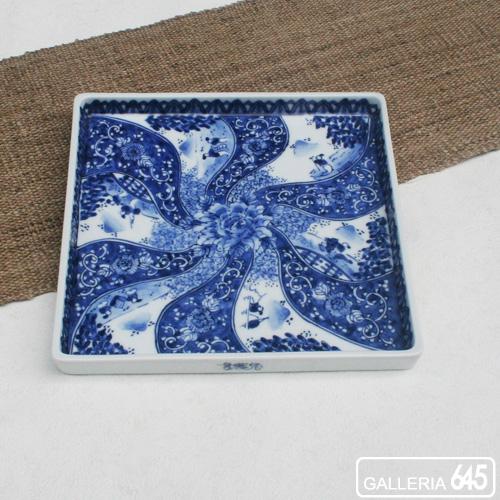 7寸正角皿(祥瑞山水):田代隆則:011055