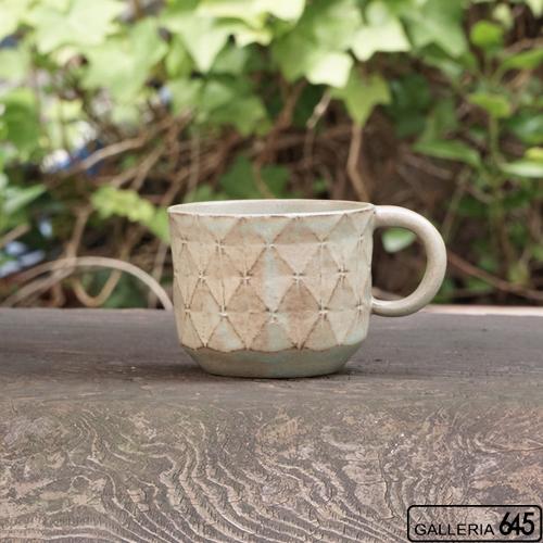 マグカップ(菱形紋アンティークブルー):サカグチケイコ:022001