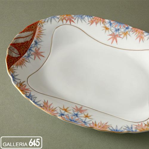 色絵竹文楕円皿:有田製窯【送料無料】:030008
