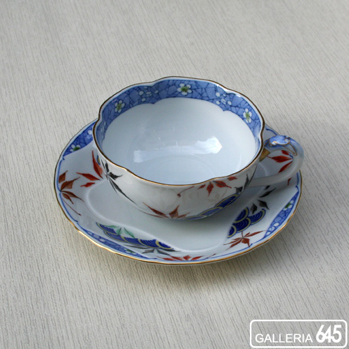 色絵紅葉青梅波文紅茶碗皿:有田製窯【送料無料】:030017
