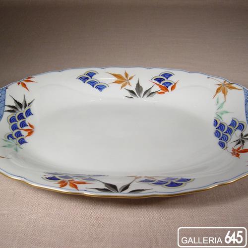 色絵紅葉青海波文楕円皿:有田製窯【送料無料】:030018