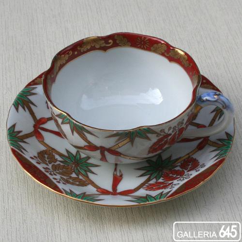 色絵桐に竹文紅茶碗皿:有田製窯【送料無料】:030023