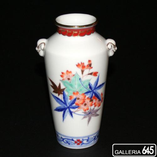 色絵春秋文獅子耳付花瓶:有田製窯【送料無料】:030043