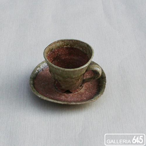 灰釉コーヒーカップ&ソーサー:壹岐幸二:036036
