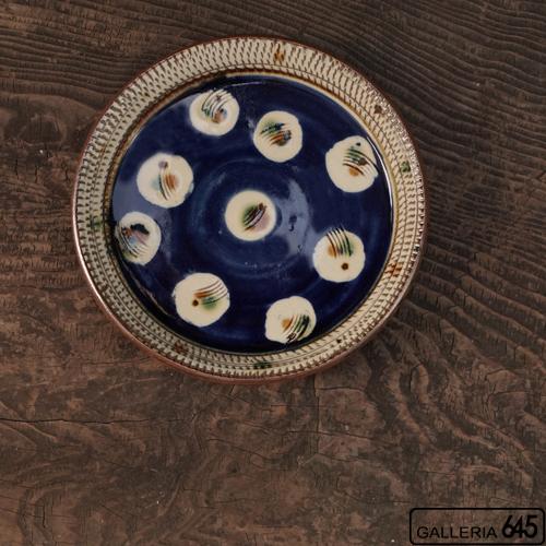 7寸平皿(青地紋):福田健治:039036