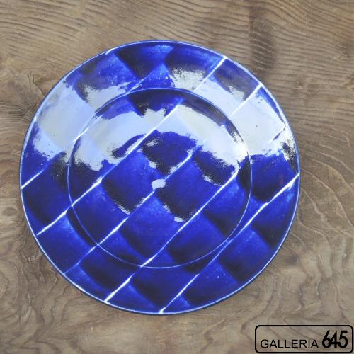 コバルトリム刷毛目8寸皿:かねき陶房 菊地 穣 :054023