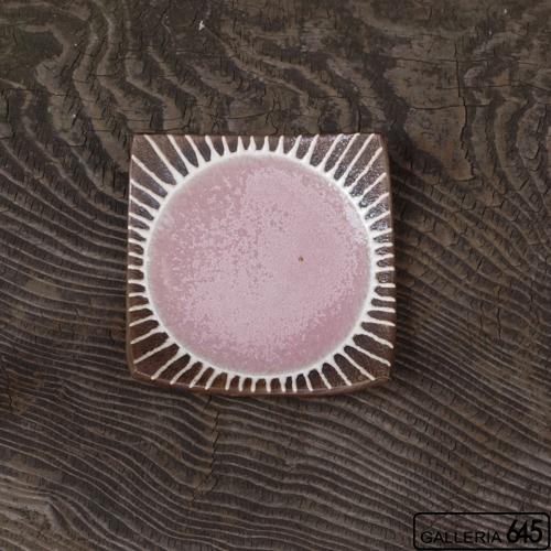 5寸正方皿(ピンク):安里貴美枝:081059-2