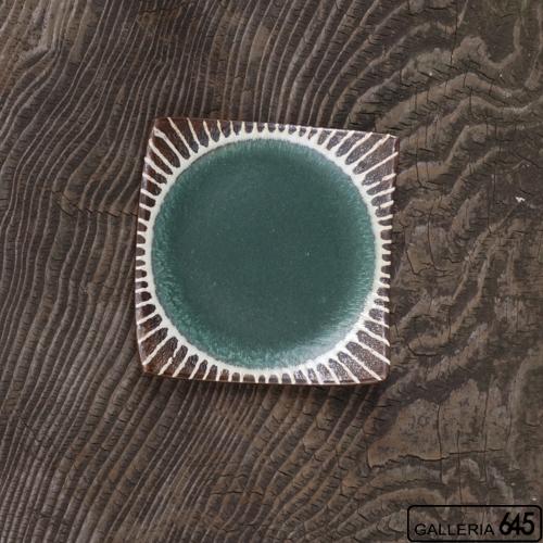 5寸正方皿(グリーン):安里貴美枝:081059-3