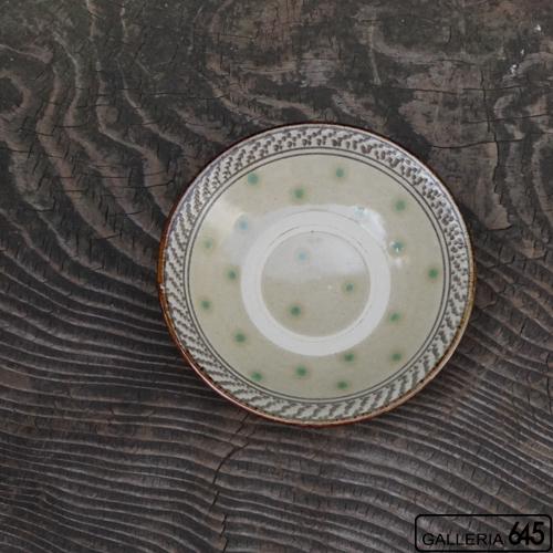 5寸皿(緑点飛びカンナ):石倉一人:083012