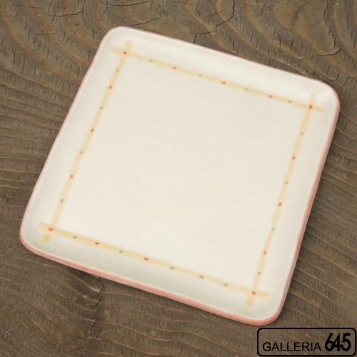 角皿(正方形・赤):工房ことりの:084028