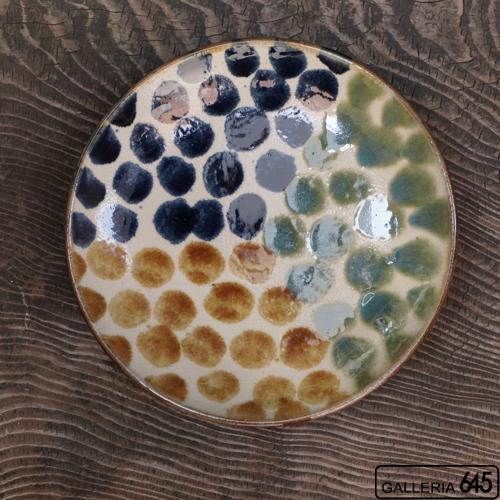 8寸皿(三彩ドット):谷口室生:088019