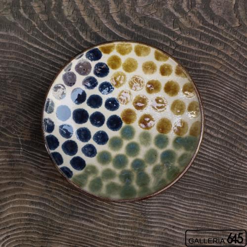 7寸皿(三彩ドット):谷口室生:088040