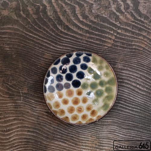 5寸皿(三彩ドット):谷口室生:088073