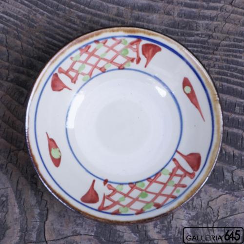 4寸皿(赤絵格子文、赤線):國場 一:094013-A-blue