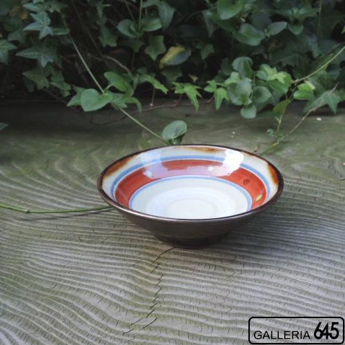 4寸皿(独楽筋赤):國場 一:094013-E