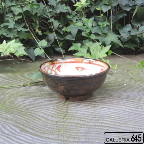 4寸鉢(赤絵格子文・茶):國場 一:094020-A