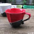 黒陶白金彩スクラッチ辰砂釉しのぎマグカップ:山本文雅:007040