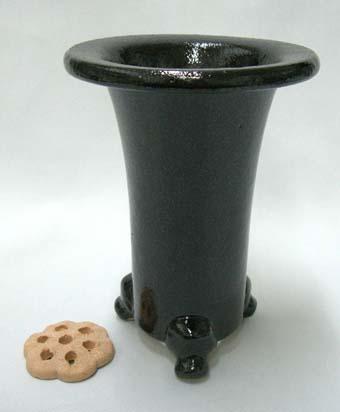 京楽焼植木鉢 4.0号 春蘭用 寒蘭用 サナ付き 澤作