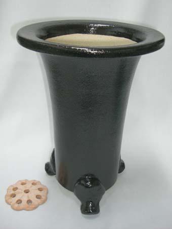 京楽焼植木鉢 7.0号 春蘭用 寒蘭用 サナ付き 澤作