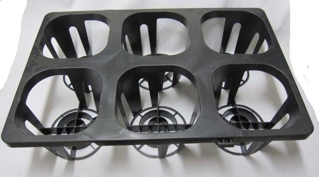 システムトレー180 6穴 6号用 黒 プラスチックトレイ