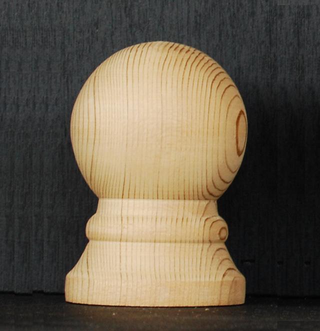 WRC材 フィニアル オベリスク用 「ボール」サイズ:高さ9cm 幅6cm