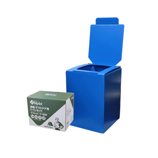 簡易トイレ プラダントイレT-100(組立式便座/トイレ処理剤100回分) まいにち [仮設用材][簡易仮設トイレ]