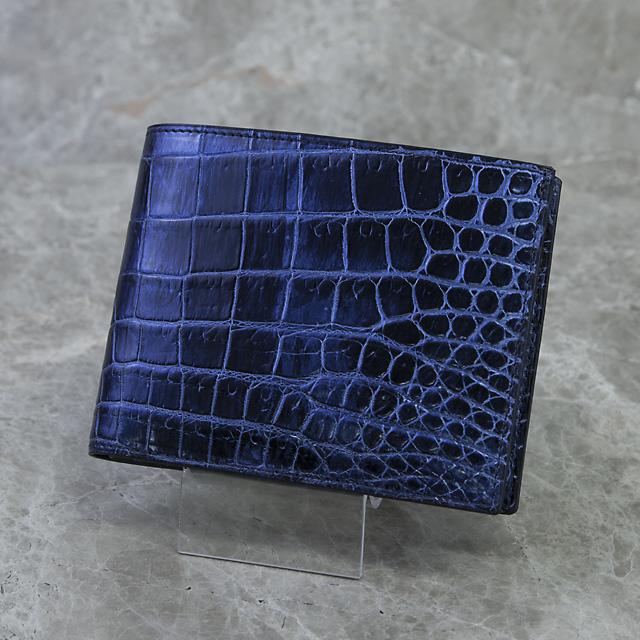 無双二つ折り財布(切り目)横カードミッドナイトブルー[HI1502M]