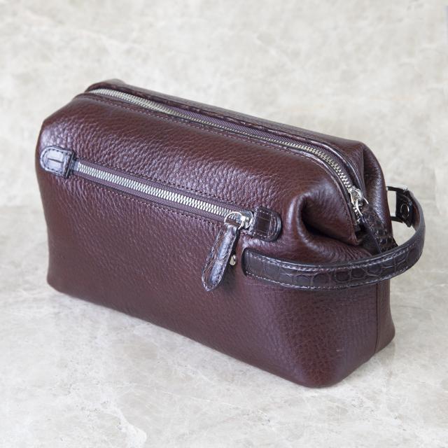 復刻モデル口金式シボ牛革 リミテッド・クロコセカンドバッグ(特典付き)[0615KW13]