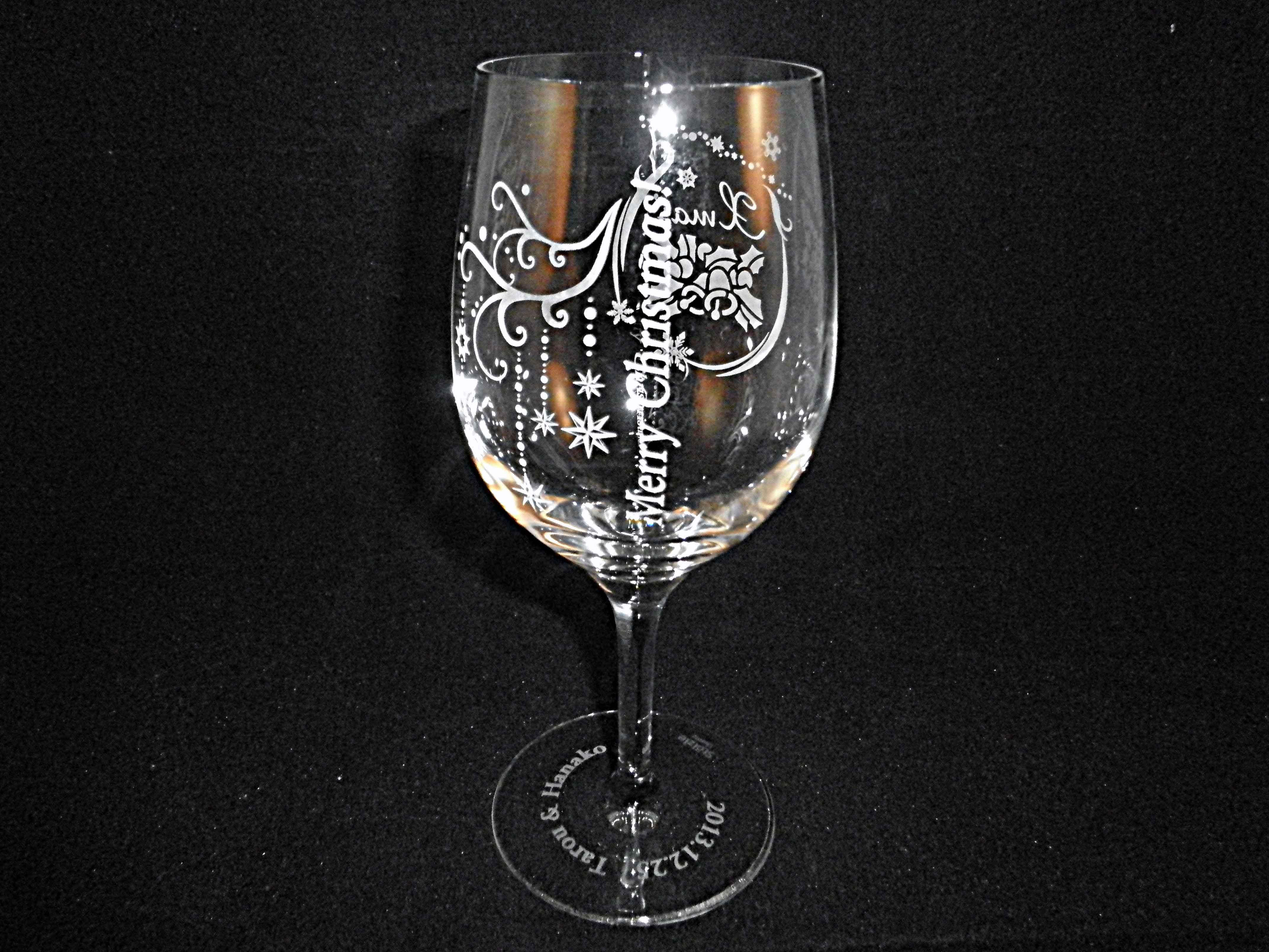 ワイングラス彫刻画像